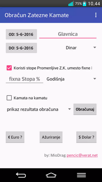 Screenshot aplikacije za računanje zatezne kamate